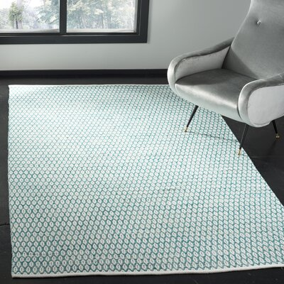Modena Hand-Woven Aqua/Ivory Area Rug Rug Size: Rectangle 5 x 8
