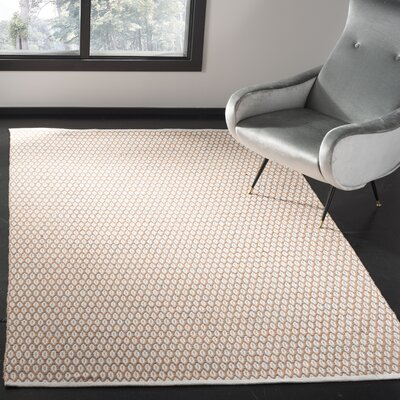 Modena Hand-Woven Orange/Ivory Area Rug Rug Size: Rectangle 5 x 8