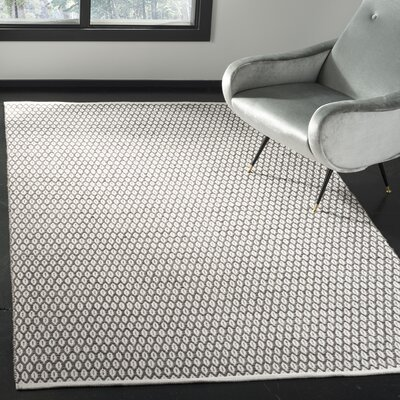 Modena Hand-Woven Charcoal/Ivory Area Rug Rug Size: Rectangle 5 x 8