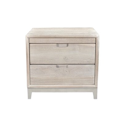 Loyd 2 Drawer Nightstand Color(Base/Top): Sandblast White/Nickel