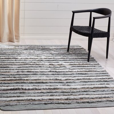 Monaca Hand-Woven Gray/White Area Rug Rug Size: Rectangle 5 x 8