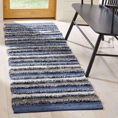 Monaca Hand-Woven Blue/Gray Area Rug Rug Size: Runner 23 x 8