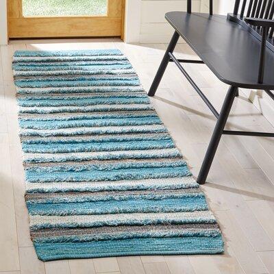 Monaca Hand-Woven Aqua/Gray Area Rug Rug Size: Runner 23 x 8