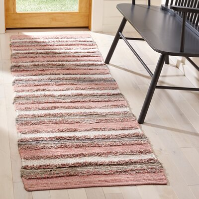 Monaca Hand-Woven Pink/Gray Area Rug Rug Size: Runner 23 x 8