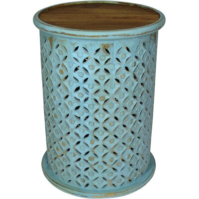 Lorraine Global Archive Drum End Table Color: Turquoise
