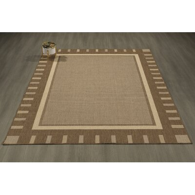 Goodhue Contemporary Bordered Design Gray Outdoor/Indoor Area Rug Rug Size: 53 x 73