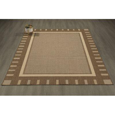 Goodhue Contemporary Bordered Design Gray Outdoor/Indoor Area Rug Rug Size: 53 x 73