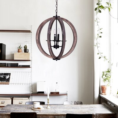Landrum 4-Light Globe Pendant Finish: Weathered Oak Wood