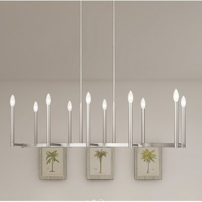 Bellefonte Modern 10-Light Kitchen Island Pendant Finish: Brushed Nickel