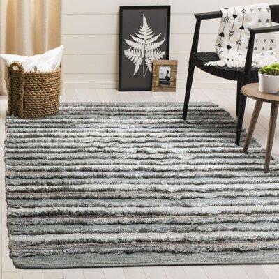 Monaca Hand-Woven Gray/White Area Rug Rug Size: Rectangle 5 x 8