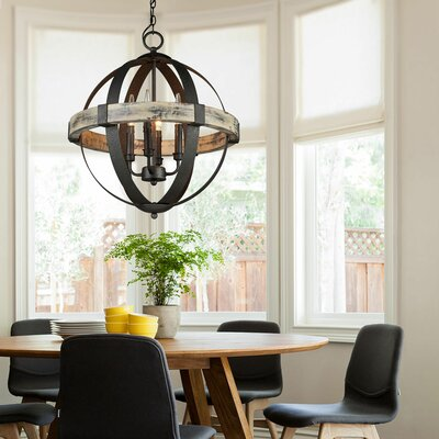 Landwehr 4-Light Globe Pendant Finish: Antique Wood