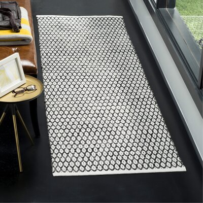 Modena Hand-Woven Black/Ivory Area Rug Rug Size: Runner 23 x 7