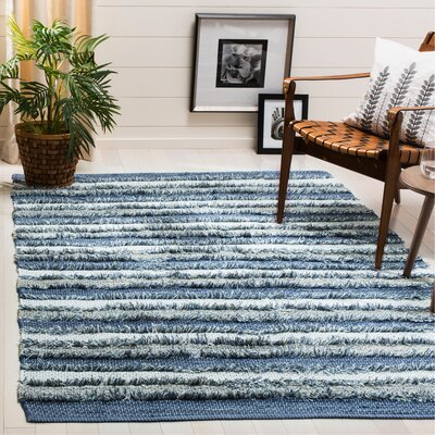 Monaca Hand-Woven Blue/Gray Area Rug Rug Size: Rectangle 5 x 8