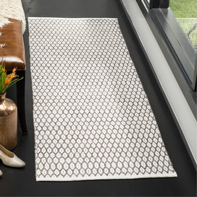 Modena Hand-Woven Charcoal/Ivory Area Rug Rug Size: Runner 23 x 7