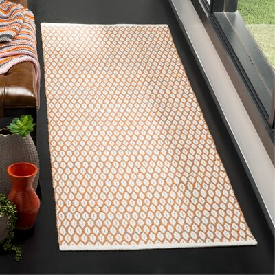 Modena Hand-Woven Orange/Ivory Area Rug Rug Size: Runner 2'3