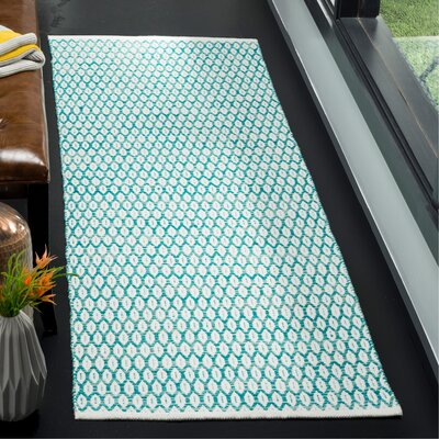 Modena Hand-Woven Aqua/Ivory Area Rug Rug Size: Runner 23 x 7
