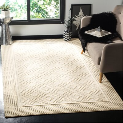 Xamiera Hand Tufted Wool Ivory Area Rug Rug Size: Rectangle 3 x 5