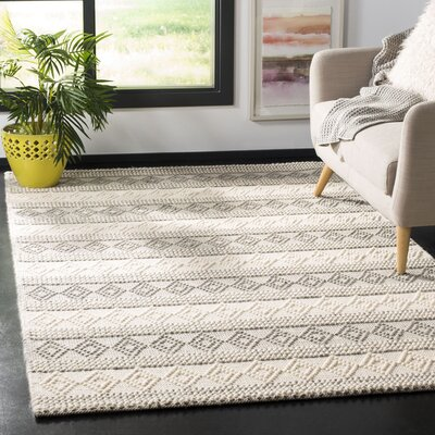 Diara Natural Hand-Woven Wool/Cotton Gray/Ivory Area Rug Rug Size: Rectangle 5 x 8
