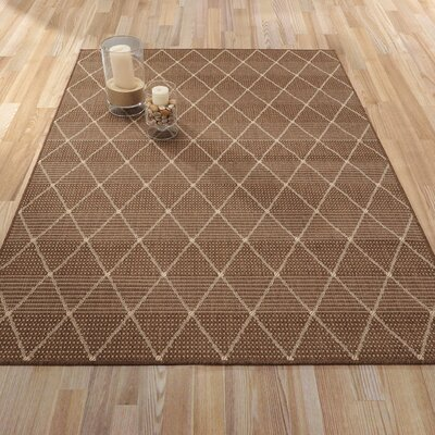 Goodhue Contemporary Trellis Design Brown Outdoor/Indoor Area Rug Rug Size: 53 x 73