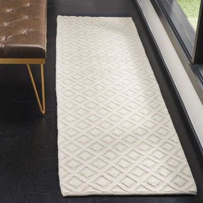 Xamiera Hand Tufted Wool And Cotton Ivory Area Rug Rug Size: Runner 23 x 8