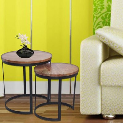 Aulay Round Iron 2 Piece Nesting Tables