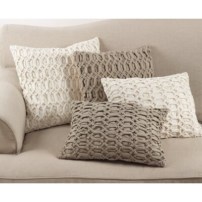 Donquez Smocked Textured Design Decorative Cotton Lumbar Pillow Color: Ivory