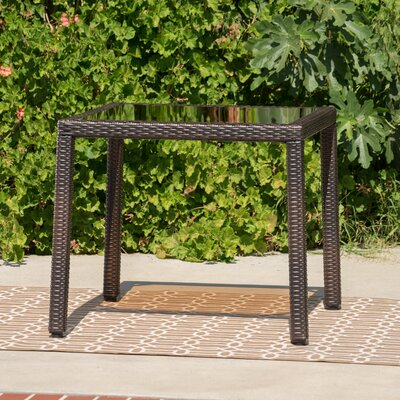 Rosenda Outdoor Square Wicker Side Table Finish: Brown