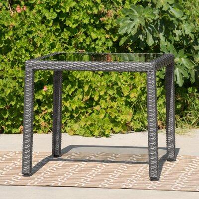 Rosenda Outdoor Square Wicker Side Table Finish: Gray