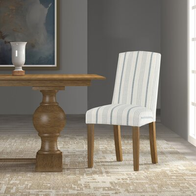 Lake Kathryn Stripe Parsons Chair Upholstery: Blue, Finish: Honey Oak