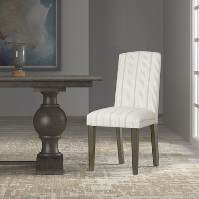 Lake Kathryn Stripe Parsons Chair Upholstery: Dove Gray, Finish: Gray Washed
