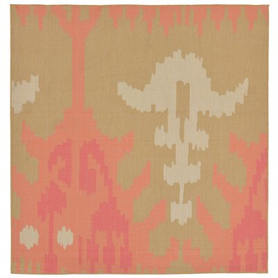 Coeur Ikat Pink/Green Indoor/Outdoor Area Rug Rug Size: Square 710