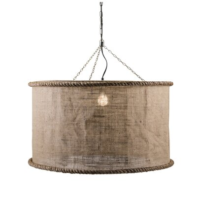 Gerson Linen Oversized 1-Light Drum Pendant