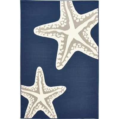 Castano Sea Star Duo Navy/Gray Indoor/Outdoor Area Rug Rug Size: 5 x 73