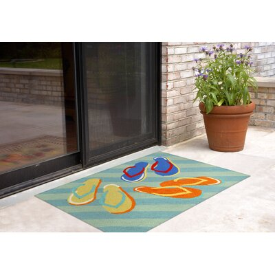 Cullen Flip Flops Hand-Tufted Blue Indoor/Outdoor Area Rug Rug Size: Rectangle 18 x 26