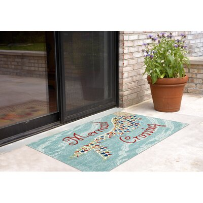 Tarmons Mermaid Crossing Aqua Indoor/Outdoor Area Rug Rug Size: 2 x 3