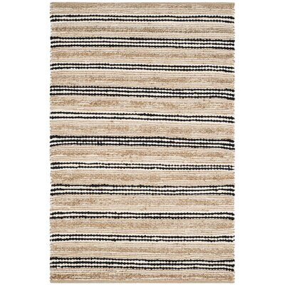 Arria Hand-Woven Natural/Black Area Rug Rug Size: Rectangle 4 x 6