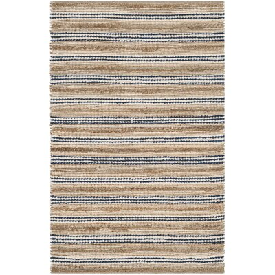 Arria Hand-Woven Natural/Blue Cotton Area Rug Rug Size: Rectangle 5 x 8
