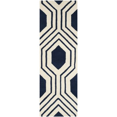 Aula Hand-Tufted Dark Blue/Ivory Area Rug Rug Size: Runner 23 x 7