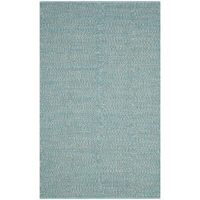 Alberta Hand-Woven Turquoise Cotton Pile Area Rug Rug Size: Rectangle 23 x 9