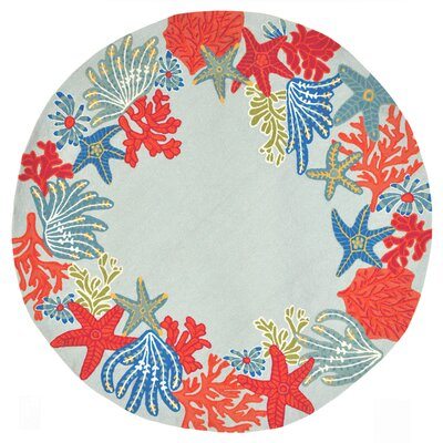 Clowers Hand-Tufted Aqua Indoor/Outdoor Area Rug Rug Size: Round 5