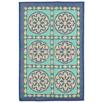 Coeur Blue Tile Indoor/Outdoor Area Rug Rug Size: Rectangle 111 x 211