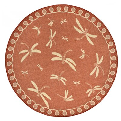Clatterbuck Rust Indoor/Outdoor Area Rug Rug Size: Round 710