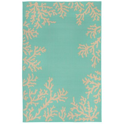 Clatterbuck Blue Coral Border Indoor/Outdoor Area Rug Rug Size: Rectangle 4'10