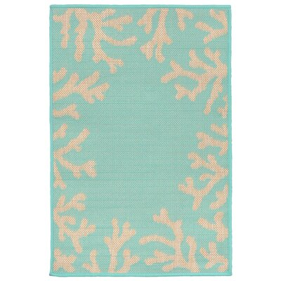 Clatterbuck Blue Coral Border Indoor/Outdoor Area Rug Rug Size: Rectangle 111 x 211