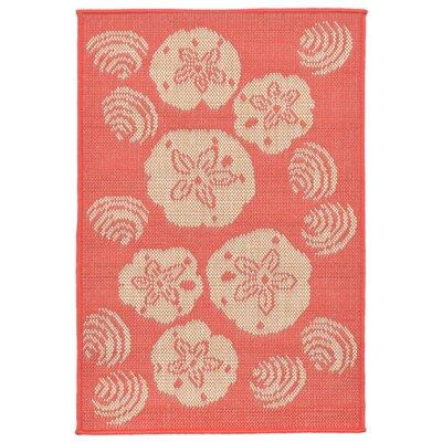 Clatterbuck Orange Shell Toss Indoor/Outdoor Area Rug Rug Size: Rectangle 111 x 211