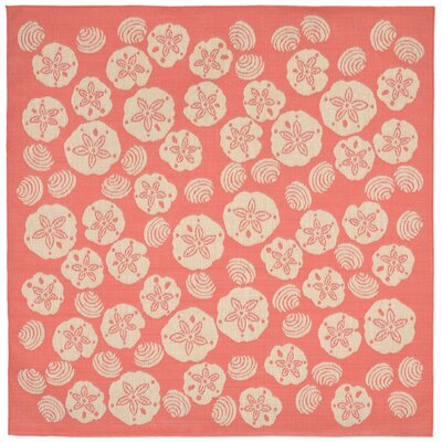 Clatterbuck Orange Shell Toss Indoor/Outdoor Area Rug Rug Size: Square 710