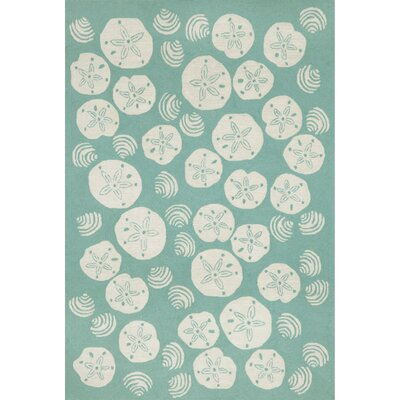 Artic Aqua Shell Hand-Tufted Blue Indoor/Outdoor Area Rug Rug Size: Rectangle 2 x 3