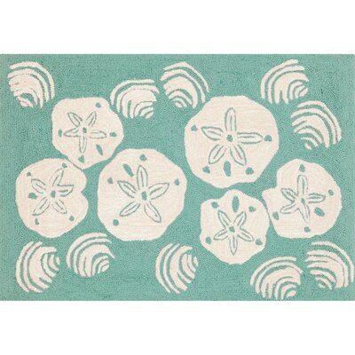 Artic Aqua Shell Hand-Tufted Blue Indoor/Outdoor Area Rug Rug Size: Rectangle 2' x 5'
