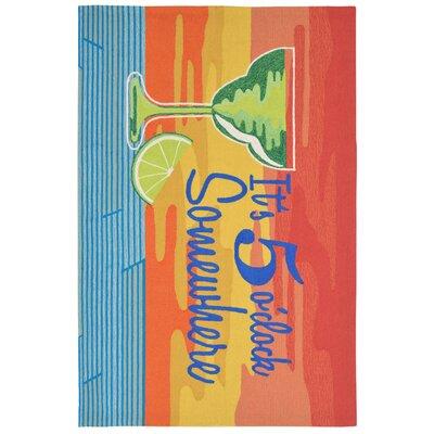 Aramantha Hand-Tufted Orange Indoor/Outdoor Area Rug Rug Size: 35 x 55