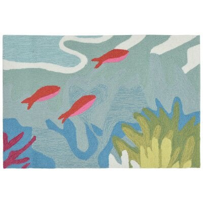 Clowers Ocean View Hand-Tufted Blue Indoor/Outdoor Area Rug Rug Size: Rectangle 2' x 3'